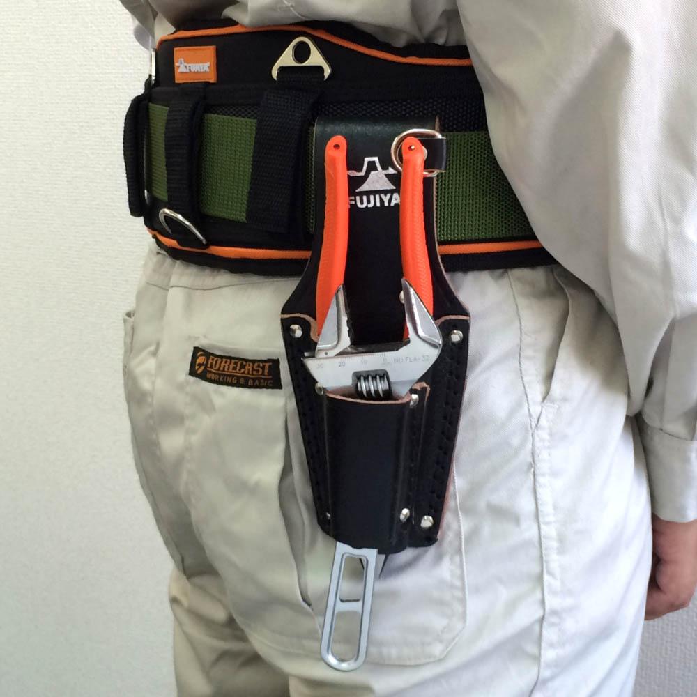 FUJIYA日本富士箭|高級黑牛皮腰間鉗子收納袋-二支型 (LP-3DSB)