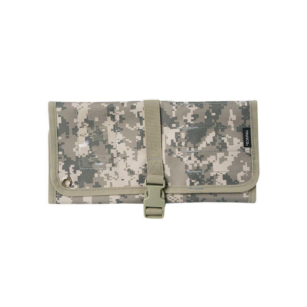 Trusco|數位迷彩-軍綠色系捲筒式工具收納包(TTR-450-SM)