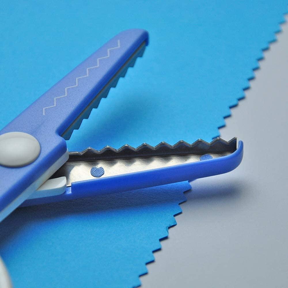 日本CANARY|美術安全剪刀-鋸齒藍