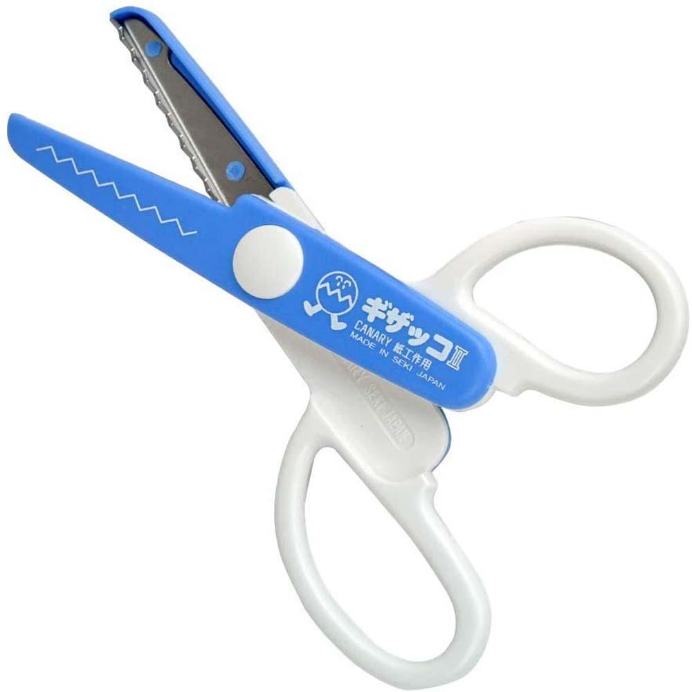 日本CANARY 美術安全剪刀-鋸齒藍