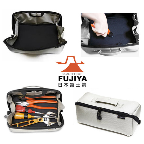 FUJIYA日本富士箭 經典高緩衝大開口工具收納袋(中)-科技灰-FTC2-MIG