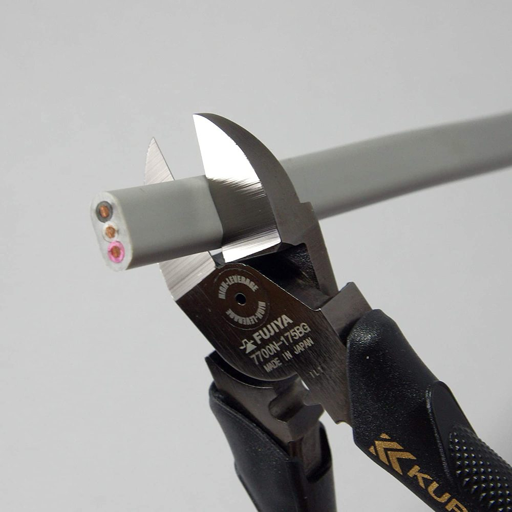 FUJIYA日本富士箭 強力型斜口鉗-偏芯薄刃175mm(黑金)-7700N-175BG