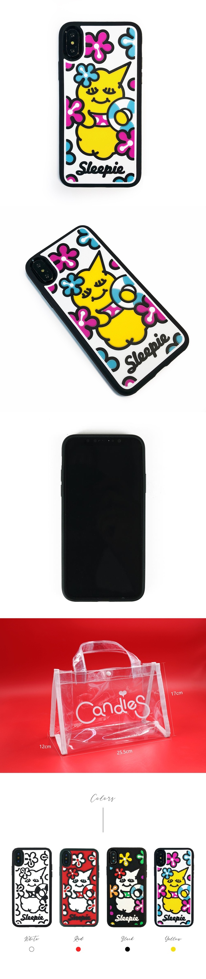 (複製)Candies 睡眠寶寶方型殼(夏日黑)-IPhone X/XS