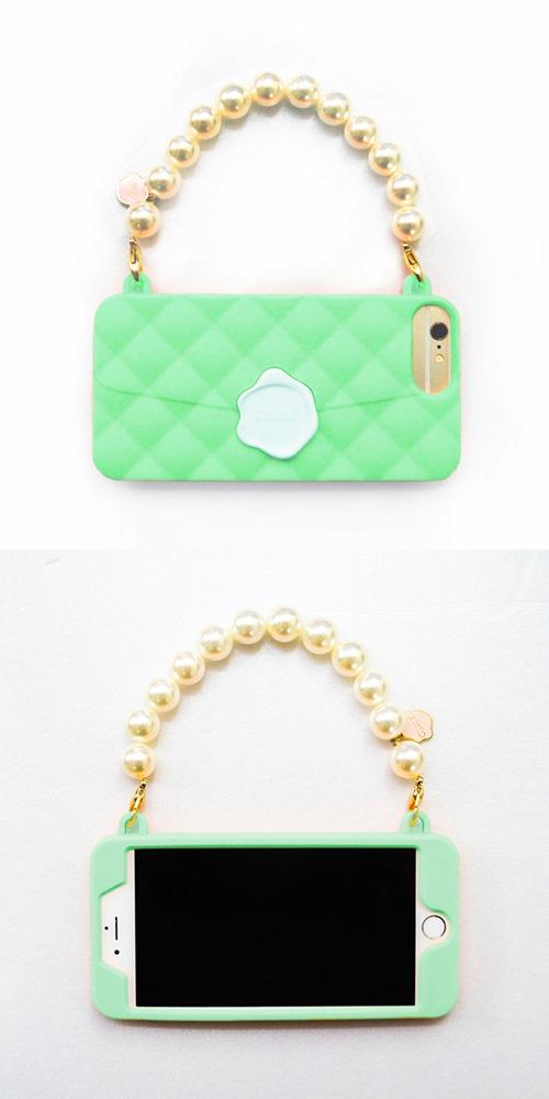 Candies|珍珠鍊 Cliche晚宴包(綠-玫瑰珠)-IPhone 7 Plus/IPhone 8 Plus