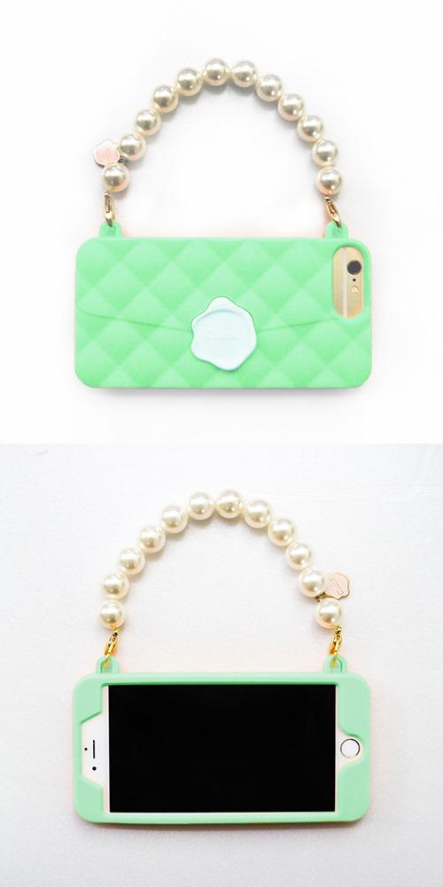(複製)Candies|珍珠鍊 Cliche晚宴包(綠-玫瑰珠)-IPhone 7 Plus/IPhone 8 Plus