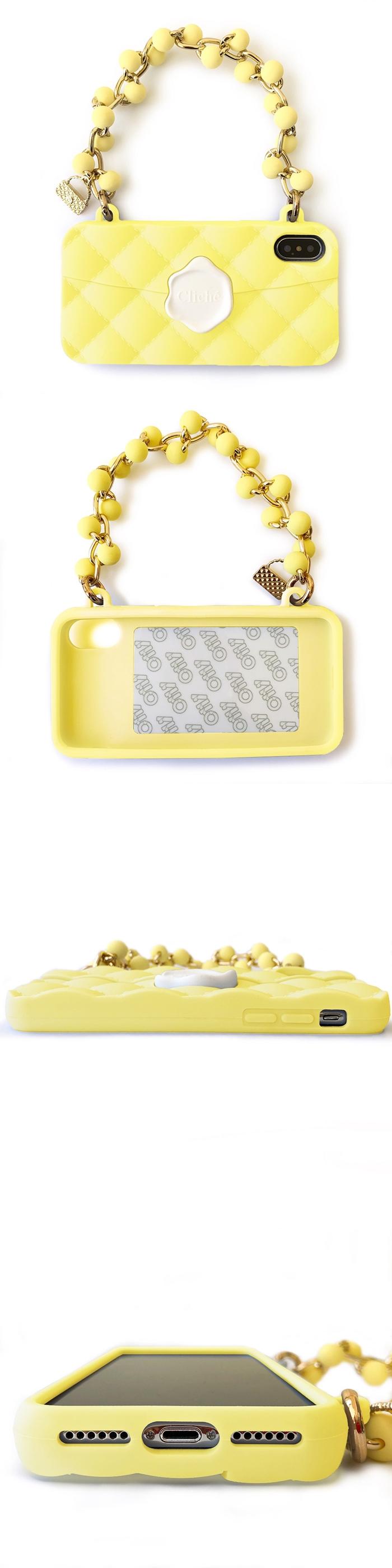 Candies 珠鍊經典晚宴包(黃)-IPhone X/XS