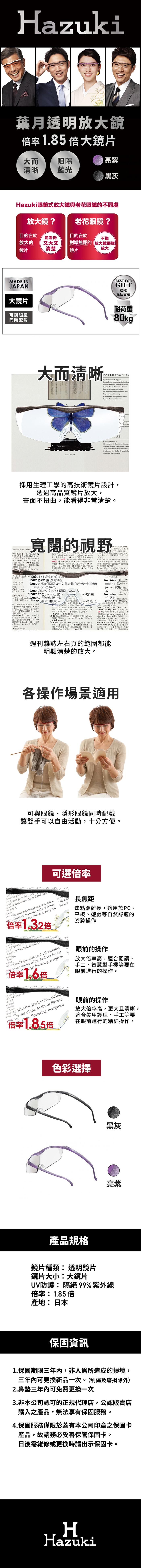 (複製)Hazuki|日本Hazuki葉月透明眼鏡式放大鏡1.6倍大鏡片(亮紫)