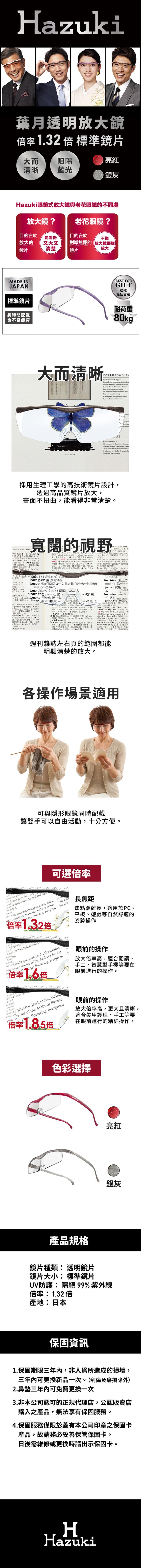 (複製)Hazuki|日本Hazuki葉月透明眼鏡式放大鏡1.85倍大鏡片(亮紫)