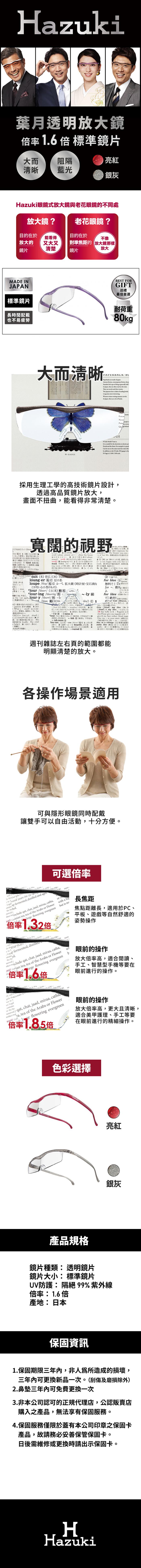 (複製)Hazuki|日本Hazuki葉月透明眼鏡式放大鏡1.32倍標準鏡片(亮紅)