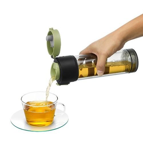 PO:Selected 丹麥雙層泡茶防摔隨手杯(外杯570ml,玻璃內杯375ml)(粉)