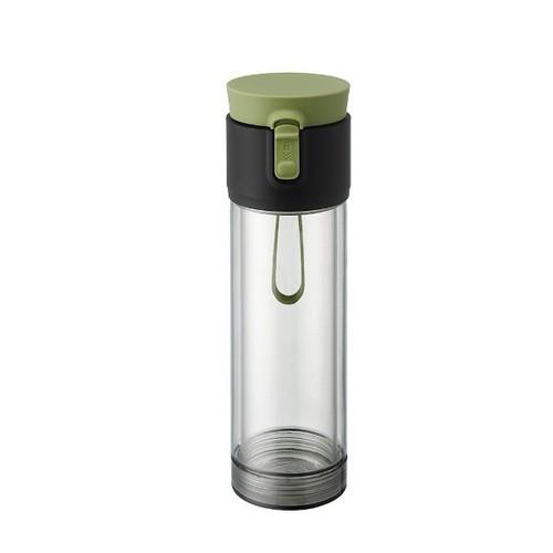 PO:Selected 丹麥雙層泡茶防摔隨手杯(外杯570ml,玻璃內杯375ml)(墨綠)