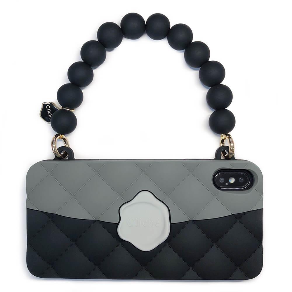 Candies|經典雙色珠鍊晚宴包(黑)-IPhone XS Max
