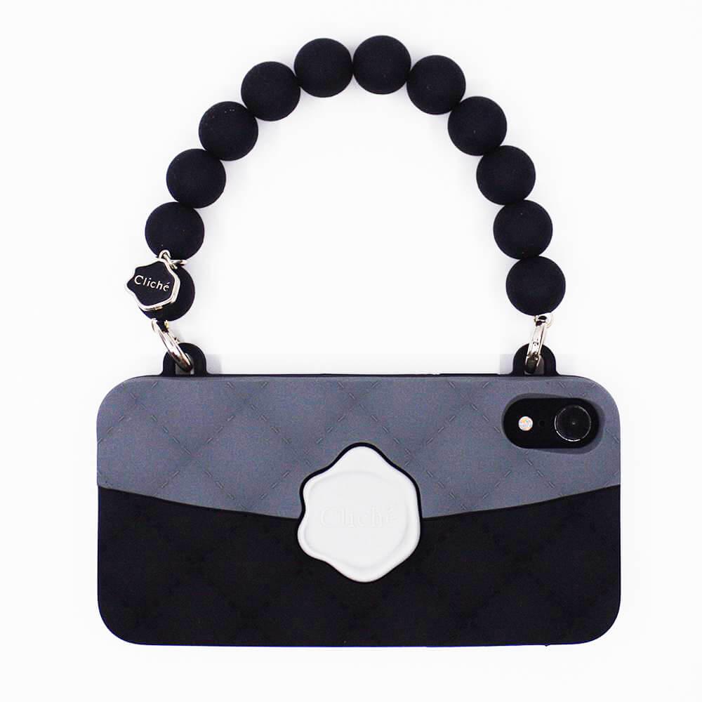Candies 經典雙色珠鍊晚宴包(黑)-IPhone XR
