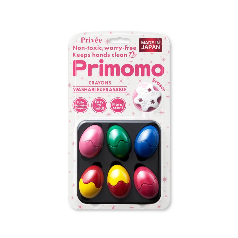 Primomo|普麗貓趣味蠟筆6色(蛋殼) - 附橡皮擦