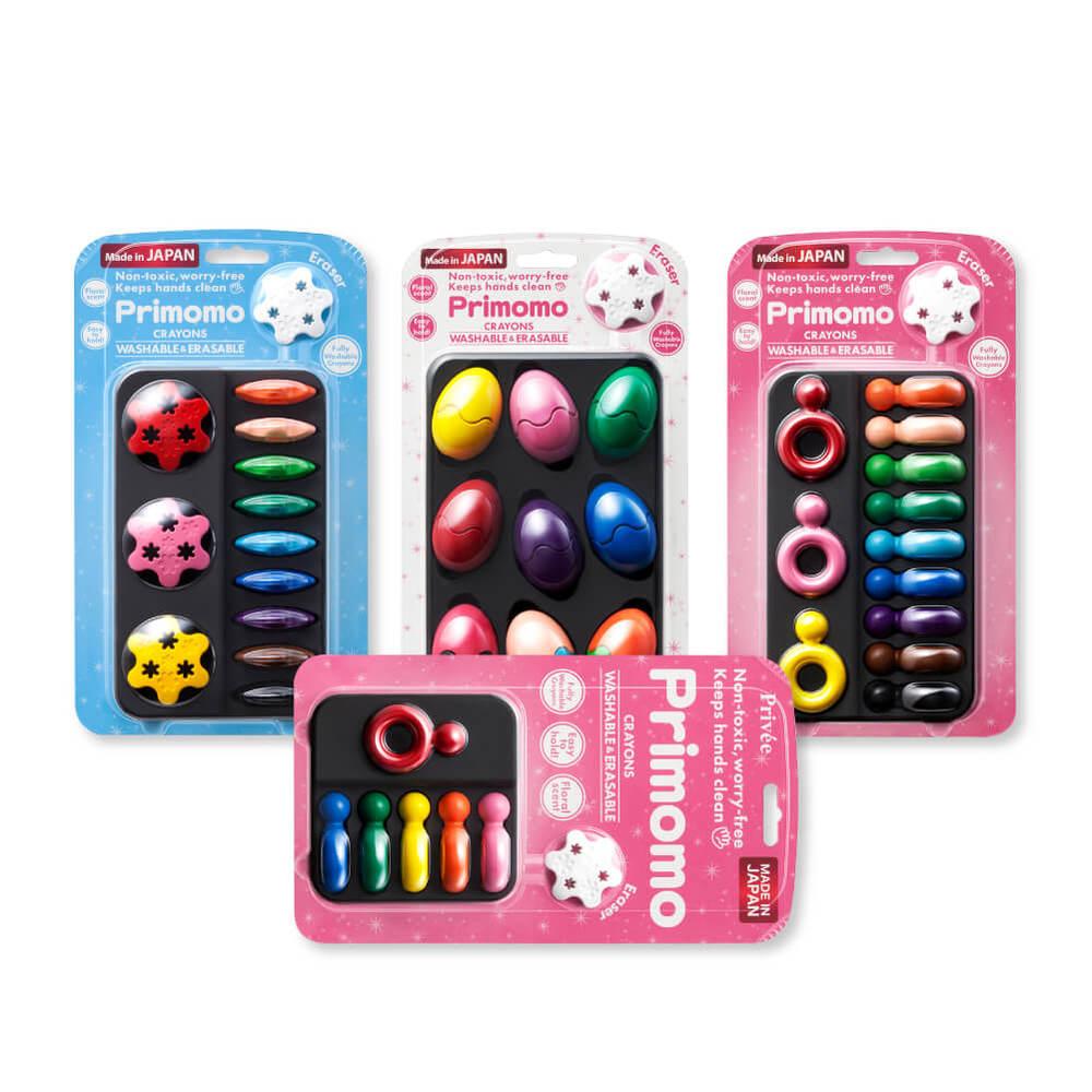 Primomo|普麗貓趣味蠟筆買三送一組合(花瓣+蛋殼+戒指)