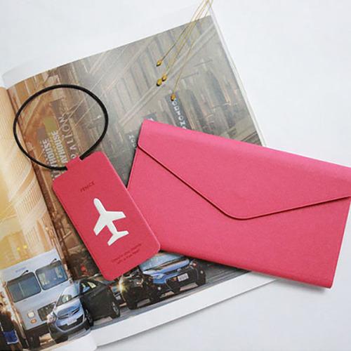 FENICE|多功能鈔票式護照包 L size(桃紅)