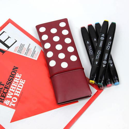 FENICE|點點造型對開筆袋(紅)