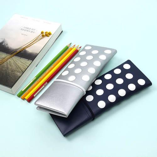 FENICE|點點造型對開筆袋(銀)