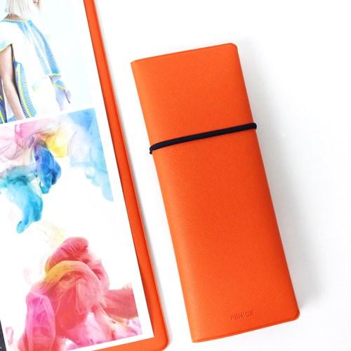FENICE|雙開式筆盒(橘+深藍)