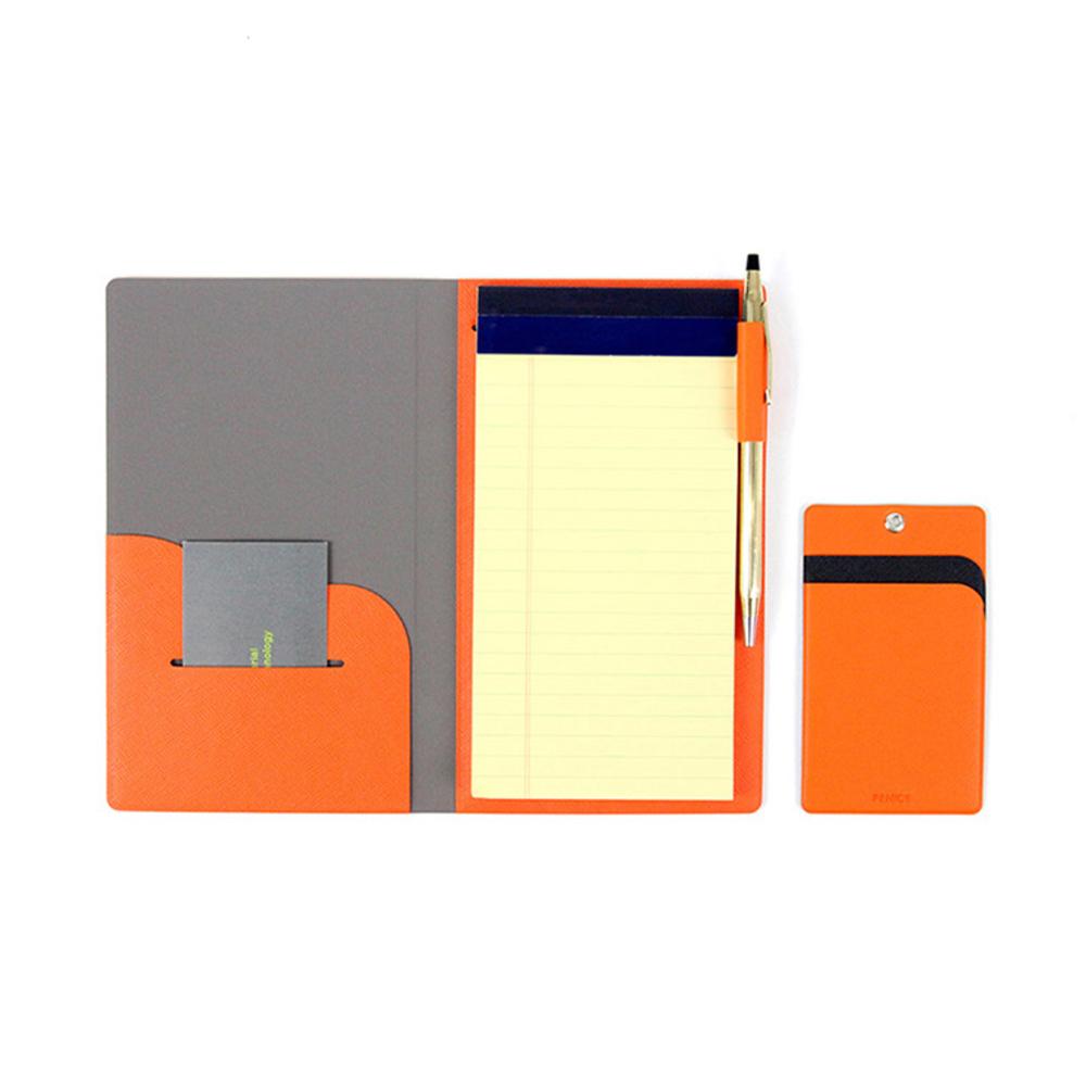 FENICE|FENICE商務系列 - 隨身筆記本(亮橘) 附贈Memo紙及原子筆一支
