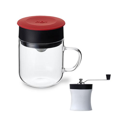 PO:Selected|丹麥DIY手沖咖啡二件組(手動式研磨器/咖啡玻璃杯240ml-紅)