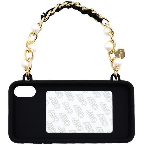 Candies|手提經典珍珠晚宴包(黑)-iPhone XS Max