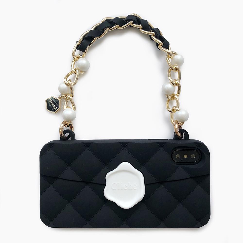 Candies 手提經典珍珠晚宴包(黑)-iPhone X.XS
