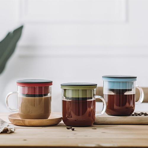 PO:Selected|丹麥研磨過濾咖啡玻璃杯350ml 2.0 (黑+紅)