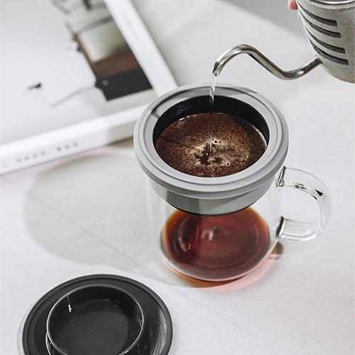PO:Selected 丹麥研磨過濾咖啡玻璃杯350ml 2.0 (黑+灰)