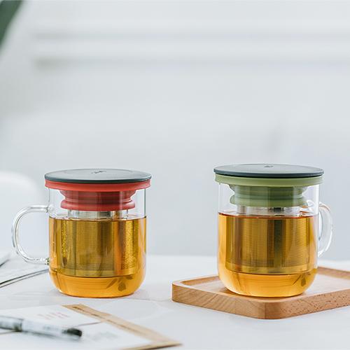 PO:Selected|丹麥泡茶玻璃杯350ml 2.0 (黑+紅)