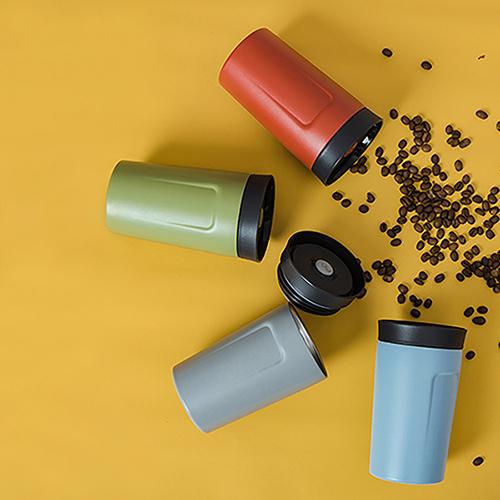 PO:Selected 丹麥360度飲用隨行保溫咖啡杯350ml(灰)-附濾網