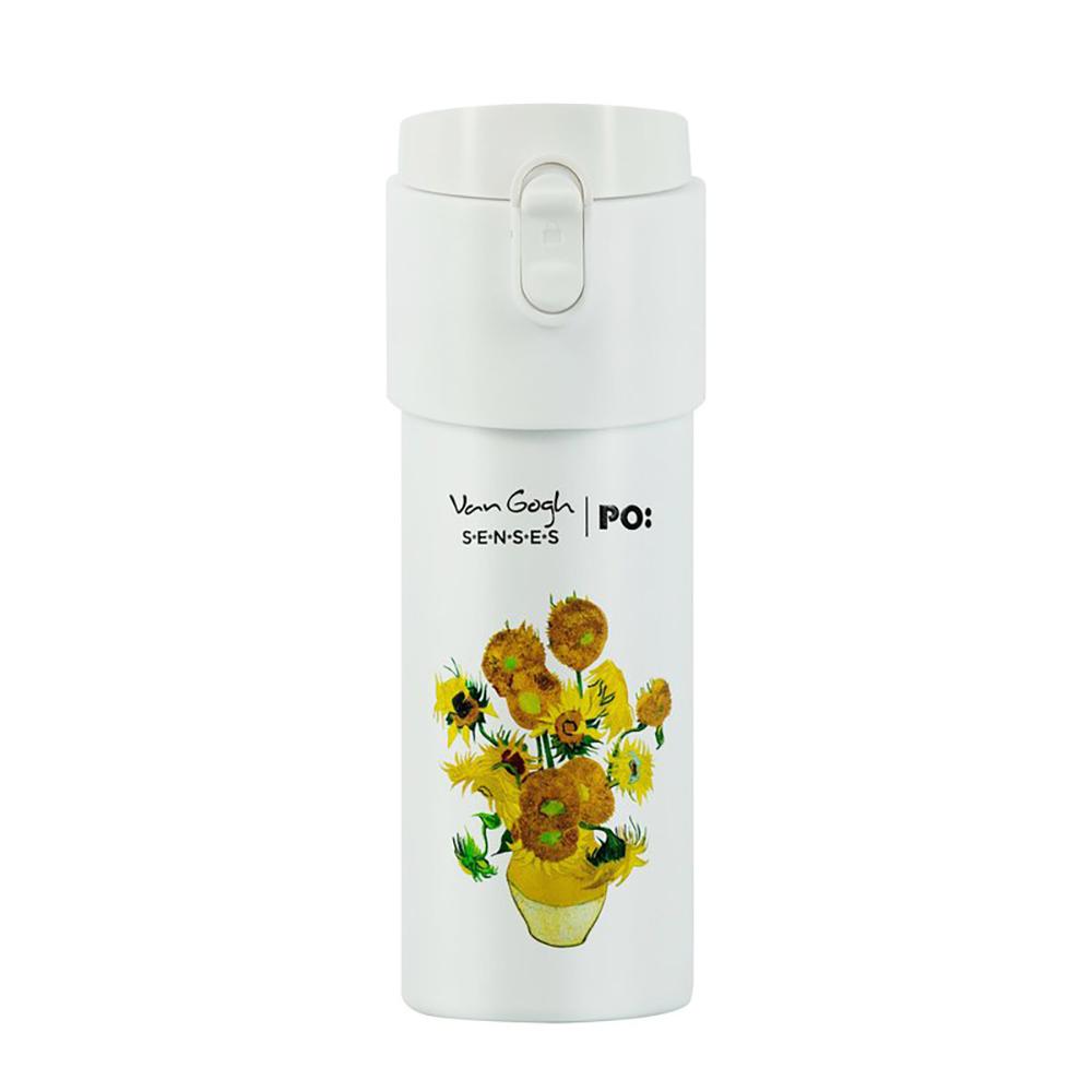 PO:Selected 丹麥掀蓋12oz保溫泡茶杯-梵谷系列(向日葵-白蓋)