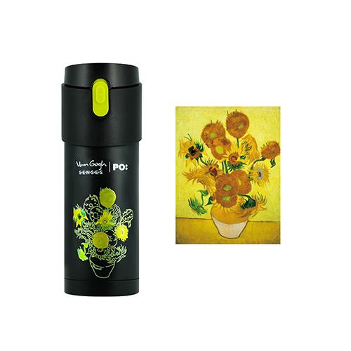 PO:Selected|丹麥掀蓋12oz保溫泡茶杯-梵谷系列(向日葵-黑蓋-綠)