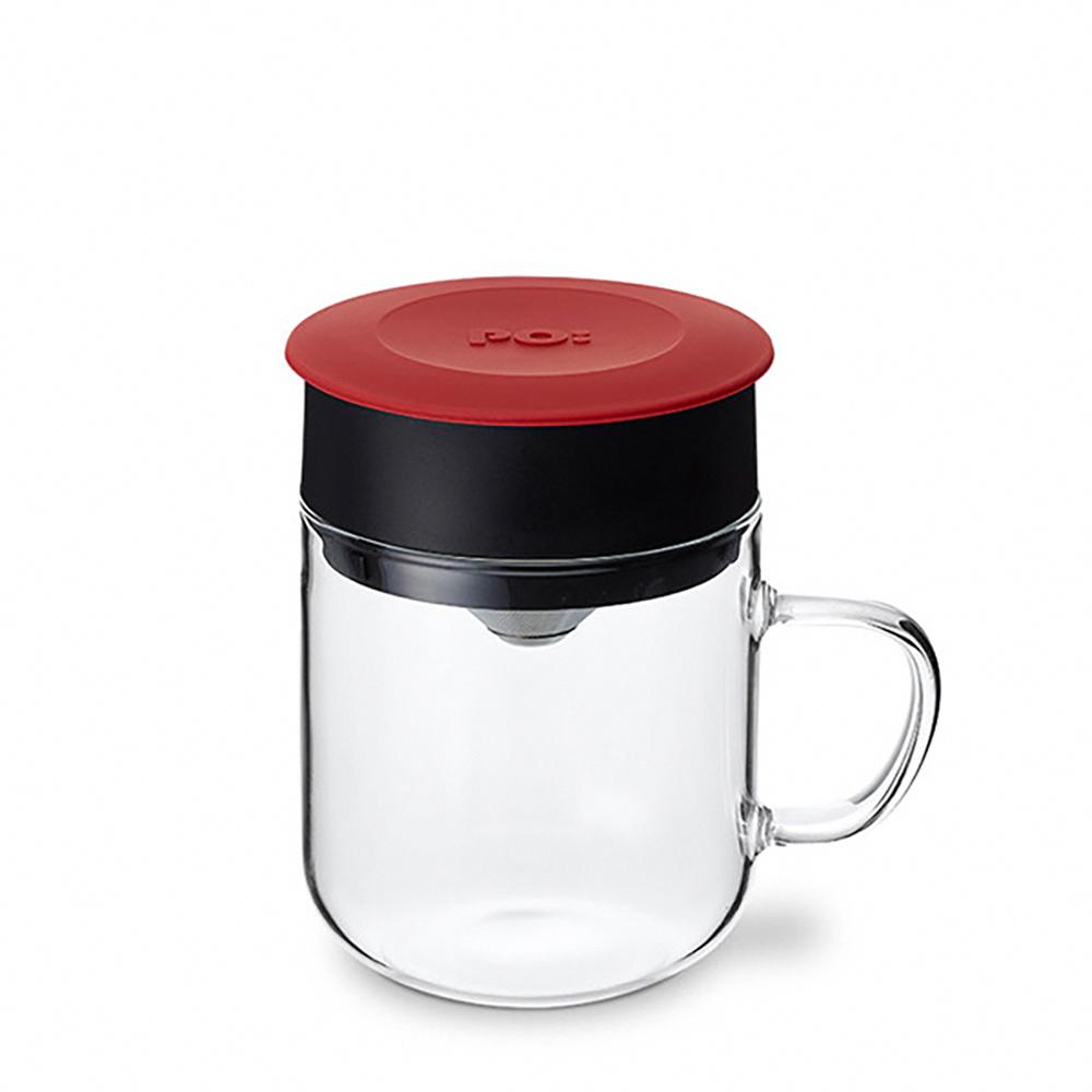 PO:Selected|丹麥2入組手沖咖啡(咖啡玻璃杯350ml-黑灰)+(咖啡玻璃杯240ml-紅)