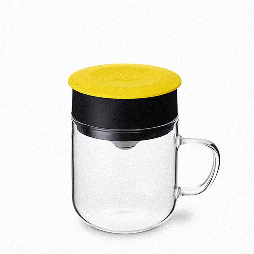 PO:Selected|丹麥2入組手沖咖啡(咖啡玻璃杯350ml-黑灰)+(咖啡玻璃杯240ml-黃)
