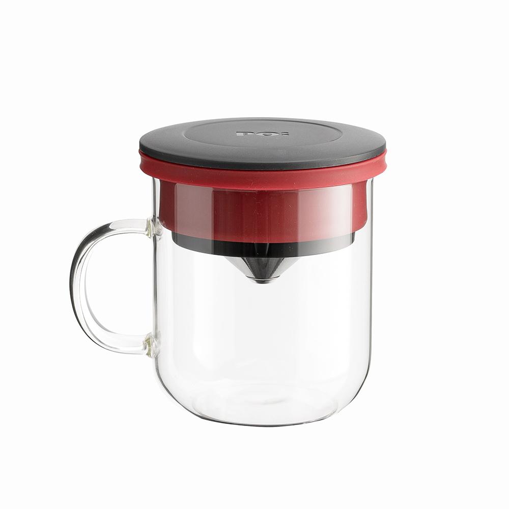 PO:Selected|丹麥2入組手沖咖啡(咖啡玻璃杯350ml-黑紅)+(咖啡玻璃杯240ml-紅)