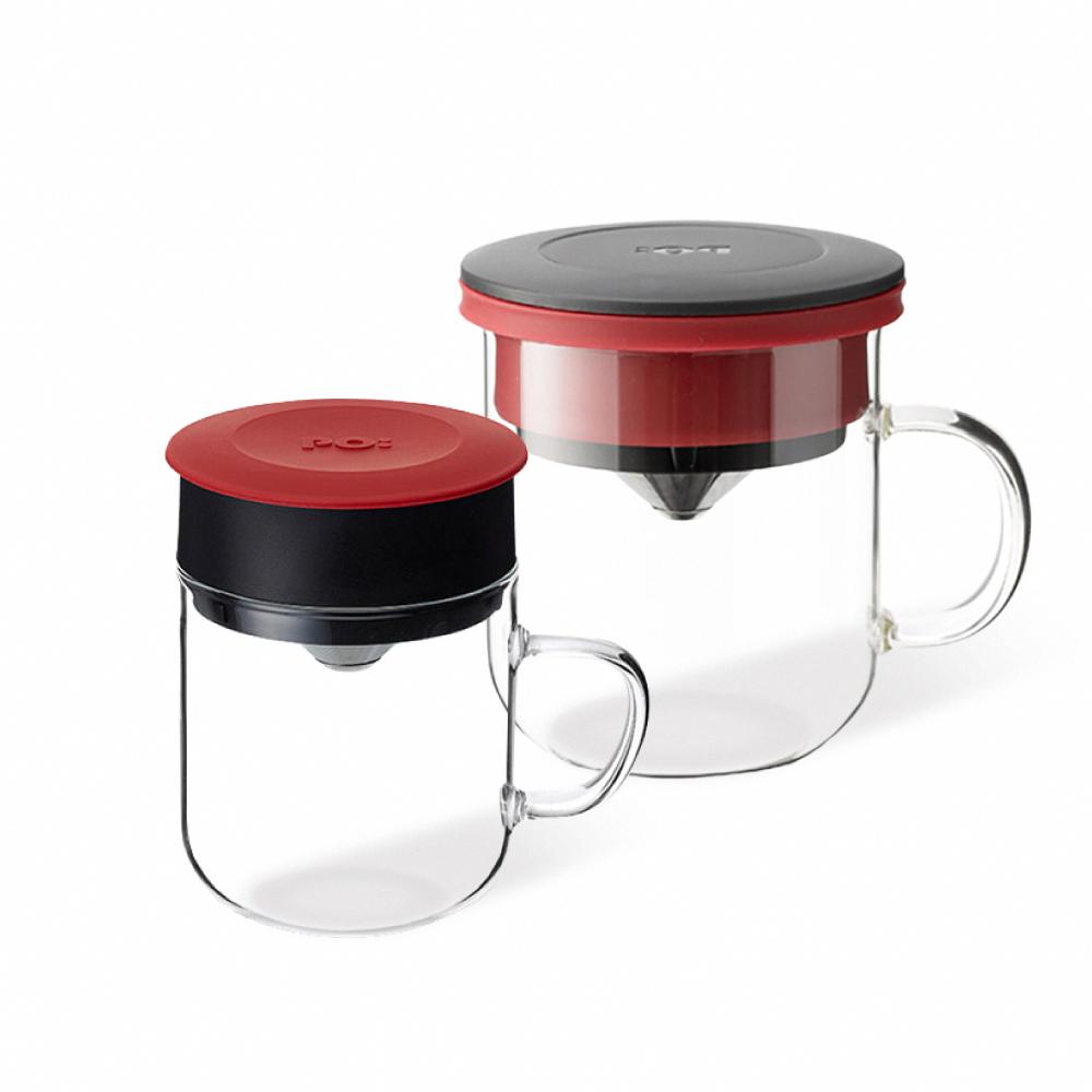 PO:Selected|丹麥2入組手沖咖啡(咖啡玻璃杯350ml-黑紅)+(咖啡玻璃杯240ml-黃)