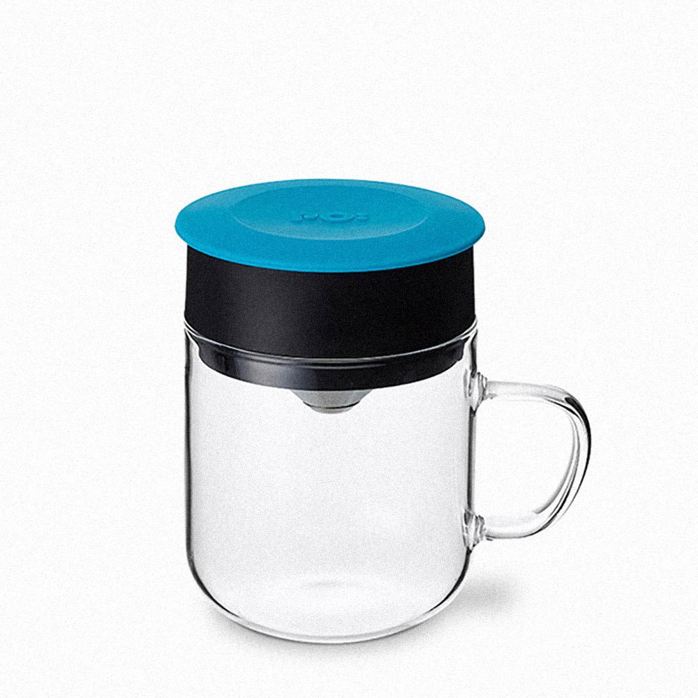 PO:Selected 丹麥2入組手沖咖啡(咖啡玻璃杯350ml-黑紅)+(咖啡玻璃杯240ml-藍)