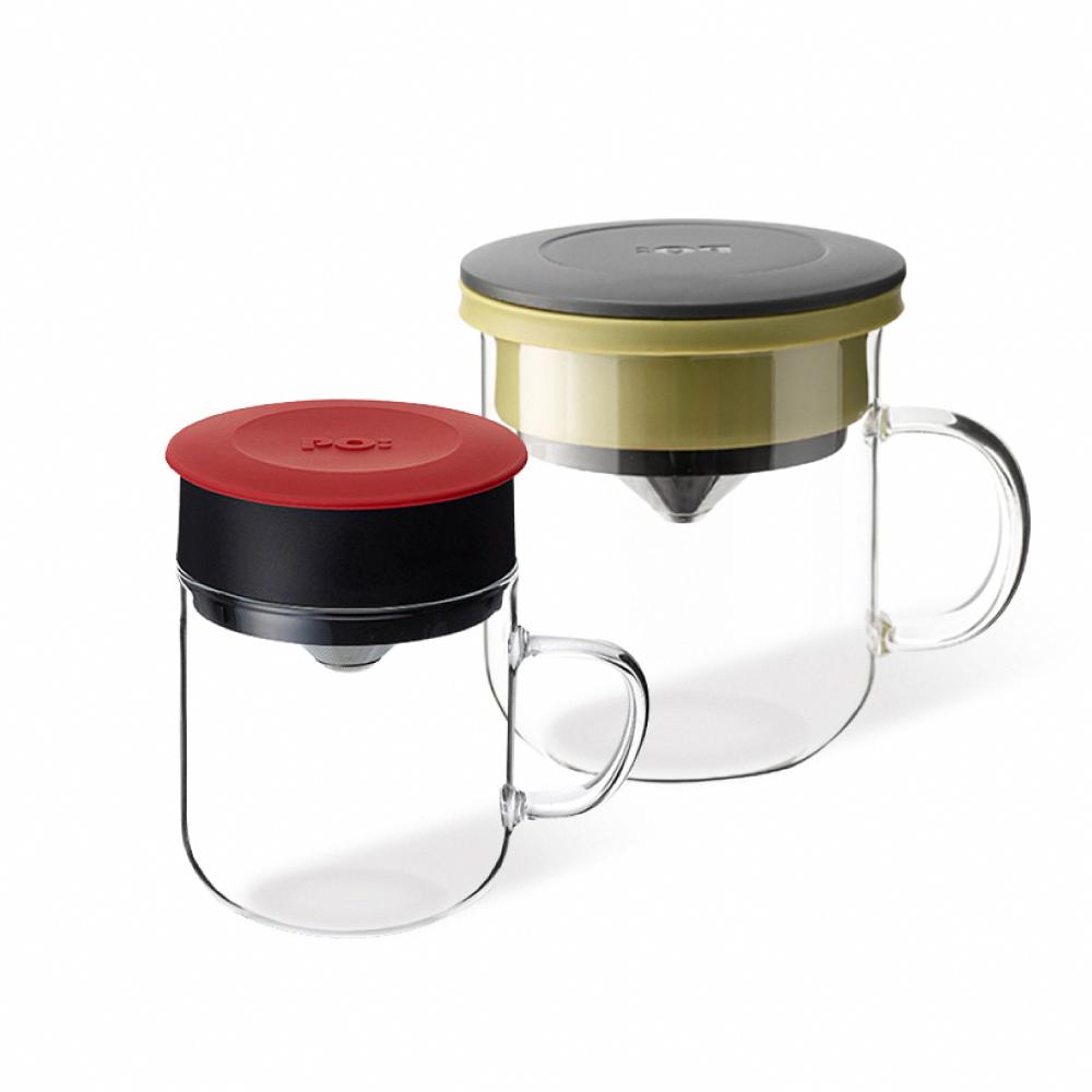 PO:Selected|丹麥2入組手沖咖啡(咖啡玻璃杯350ml-黑綠)+(咖啡玻璃杯240ml-紅)