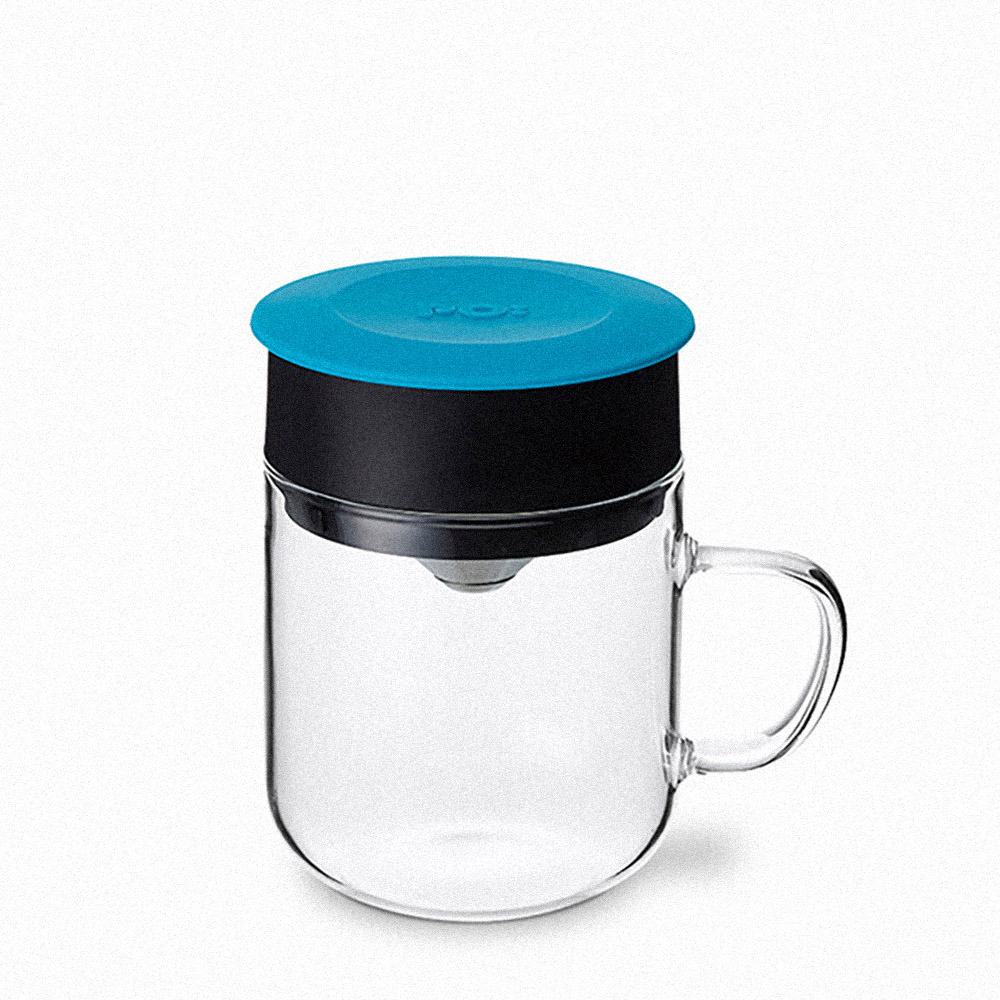 PO:Selected|丹麥2入組手沖咖啡(咖啡玻璃杯350ml-黑綠)+(咖啡玻璃杯240ml-藍)