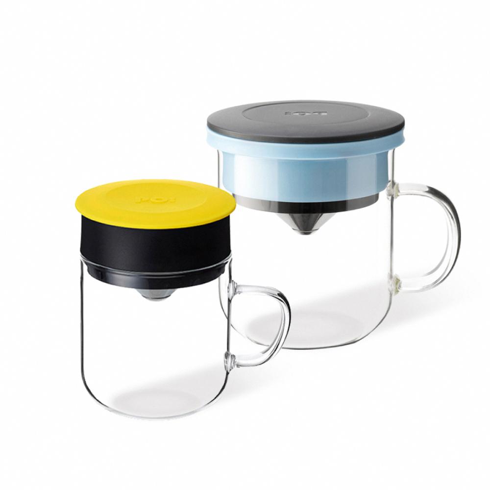 PO:Selected|丹麥2入組手沖咖啡(咖啡玻璃杯350ml-黑藍)+(咖啡玻璃杯240ml-黃)