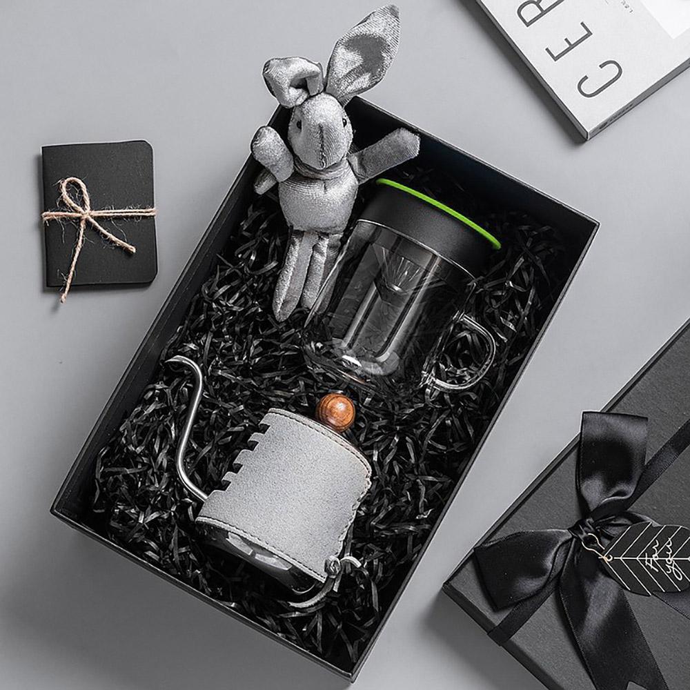 PO:Selected|丹麥手沖咖啡禮盒組(手沖咖啡壺-灰/咖啡玻璃杯240ml-綠)