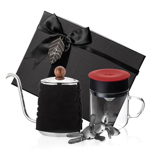 PO:Selected|丹麥手沖咖啡禮盒組(手沖咖啡壺-黑/咖啡玻璃杯240ml-紅)