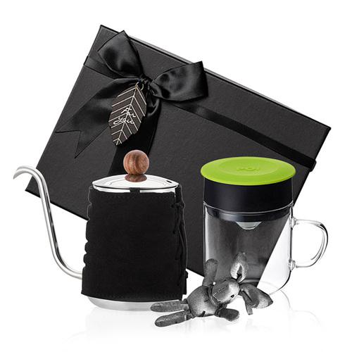 PO:Selected|丹麥手沖咖啡禮盒組(手沖咖啡壺-黑/咖啡玻璃杯240ml-綠)