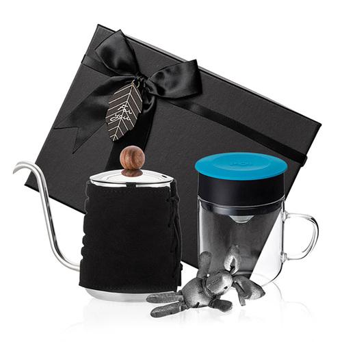 PO:Selected|丹麥手沖咖啡禮盒組(手沖咖啡壺-黑/咖啡玻璃杯240ml-藍)