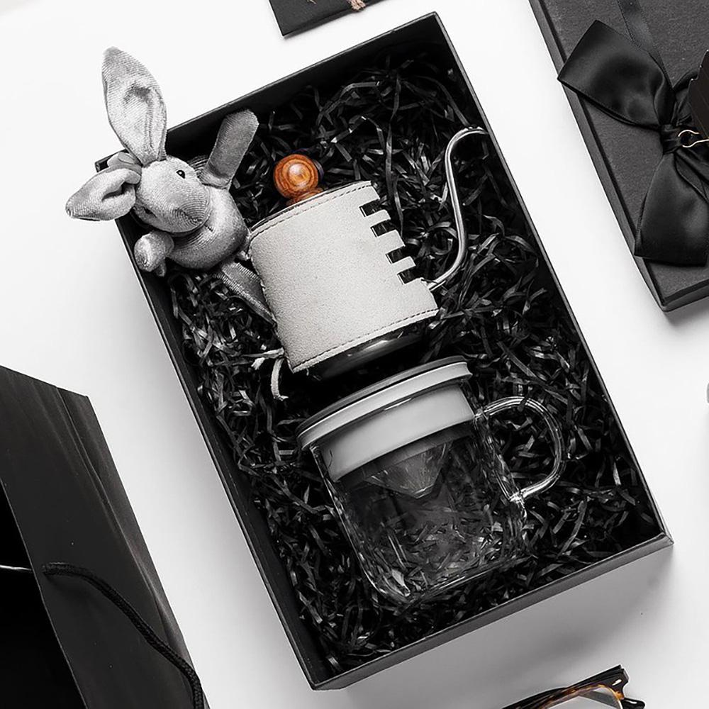 PO:Selected 丹麥手沖咖啡禮盒組(手沖咖啡壺-灰/咖啡玻璃杯350ml-黑灰)