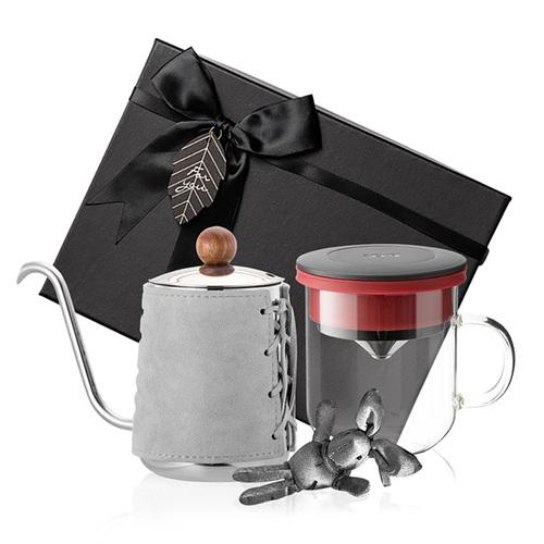 PO:Selected|丹麥手沖咖啡禮盒組(手沖咖啡壺-灰/咖啡玻璃杯350ml-黑紅)