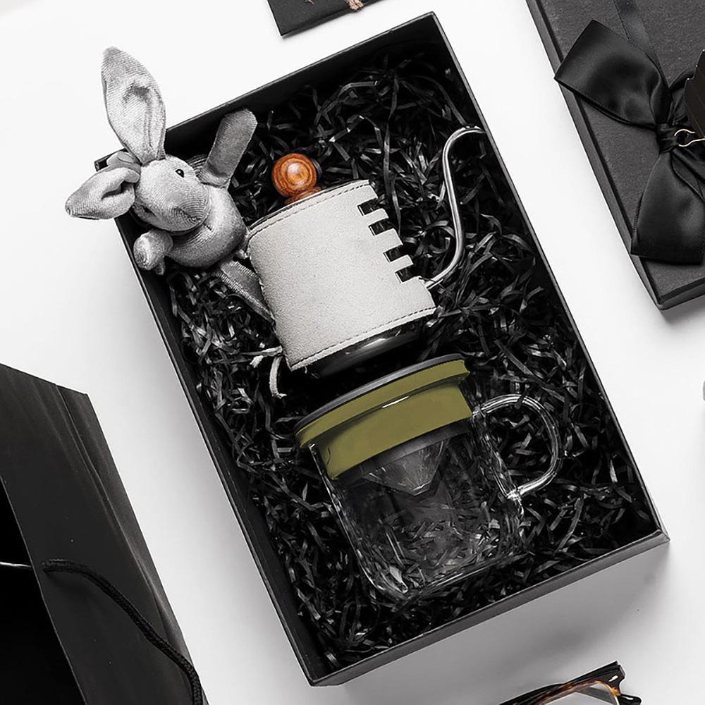 PO:Selected|丹麥手沖咖啡禮盒組(手沖咖啡壺-灰/咖啡玻璃杯350ml-黑綠)