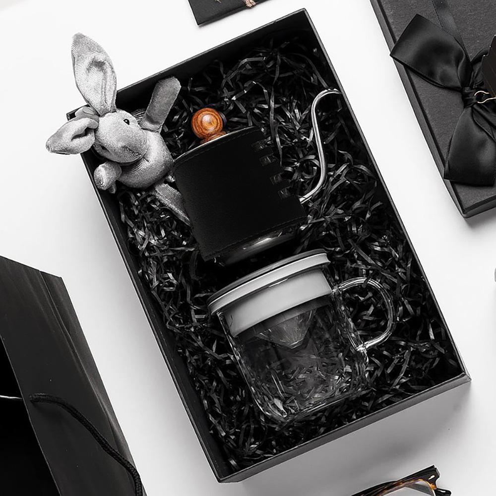 PO:Selected|丹麥手沖咖啡禮盒組(手沖咖啡壺-黑/咖啡玻璃杯350ml-黑灰)