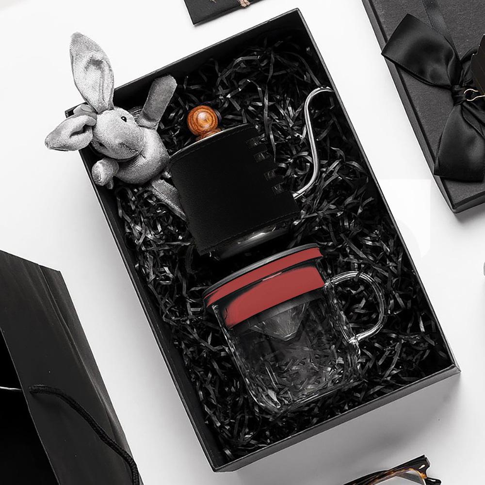 PO:Selected|丹麥手沖咖啡禮盒組(手沖咖啡壺-黑/咖啡玻璃杯350ml-黑紅)